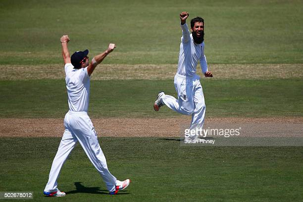 Moeen Ali of England celebrates taking the wicket of JeanPaul Duminy of South Africa during day three of the 1st Test between South Africa and...