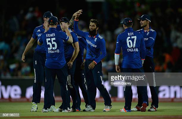 Moeen Ali of England celebrates with teammates after dismissing Rilee Rossouw of South Africa during the 1st Momentum ODI match between South Africa...