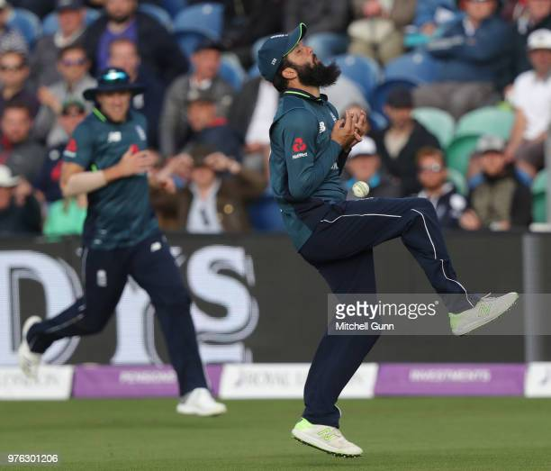 Moeen Ali of England drops a catch during the 2nd Royal London One day International match between England and Australia at Sophia Gardens Cricket...
