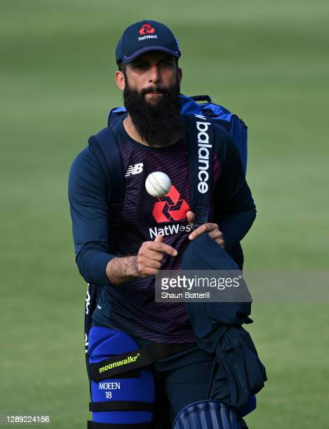 Moeen Ali of England during a Net Session at Newlands Cricket Ground on December 03, 2020 in Cape Town, South Africa.
