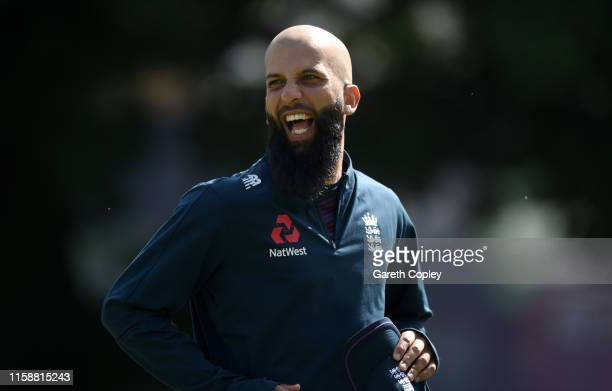 Moeen Ali of England during a nets session at Edgbaston on June 28, 2019 in Birmingham, England.