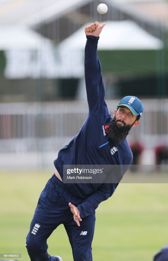 Moeen Ali of England during a nets session at Old Trafford on June 23, 2018 in Manchester, England.