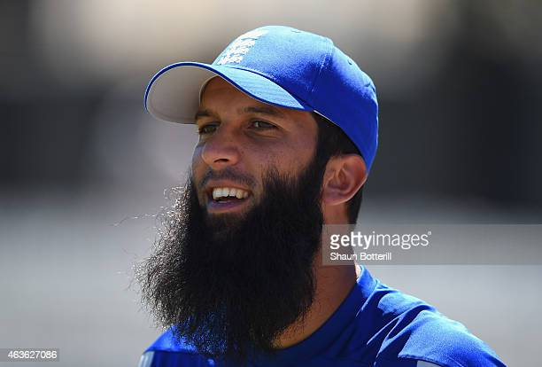 Moeen Ali of England during an England nets session at Basin Reserve on February 17 2015 in Wellington New Zealand