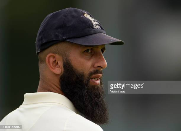 Moeen Ali of England during day four of the First Specsavers Ashes Test Match between England and Australia at Edgbaston on August 04, 2019 in...