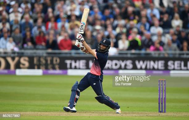 Moeen Ali of England hits a six during the 3rd Royal London One Day International match between England and the West Indies at The Brightside Ground...