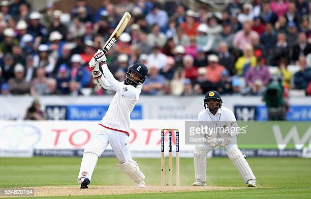 Moeen Ali of England hits out for six runs during day two of the 2nd Investec Test match between England and Sri Lanka at Emirates Durham ICG on May...