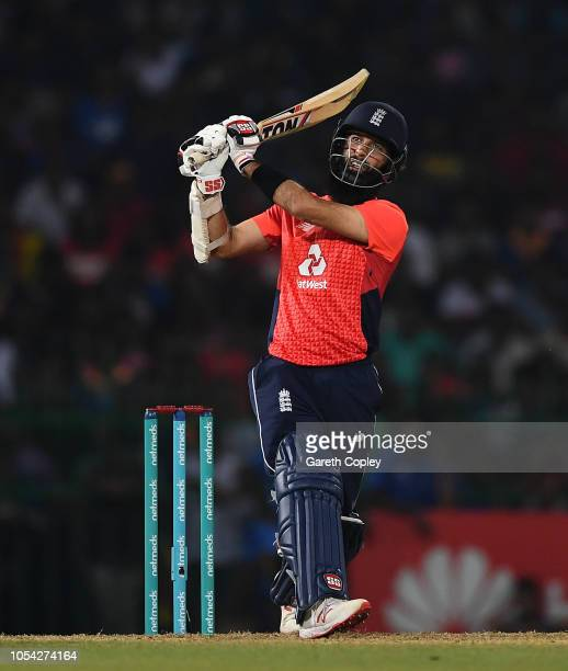 Moeen Ali of England hits out for six runs during the International Twenty20 match between Sri Lanka and England at R Premadasa Stadium on October 27...