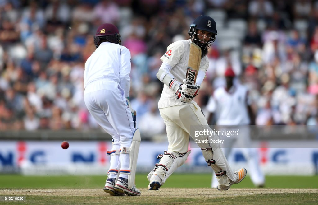 Moeen Ali of England hits past West Indies wicketkeeper Shane Dowrich during day four of the 2nd Investec Test between England and the West Indies at Headingley on August 28, 2017 in Leeds, England.