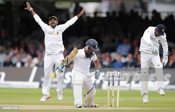 Moeen Ali of England is bowled out during day four of 1st Investec Test match between England and Sri Lanka at Lord's Cricket Ground on June 15, 2014...