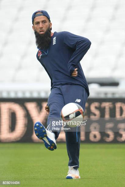 Moeen Ali of England kicks a football during a training session before the 3rd Investec Test match between England and South Africa at the Kia Oval...
