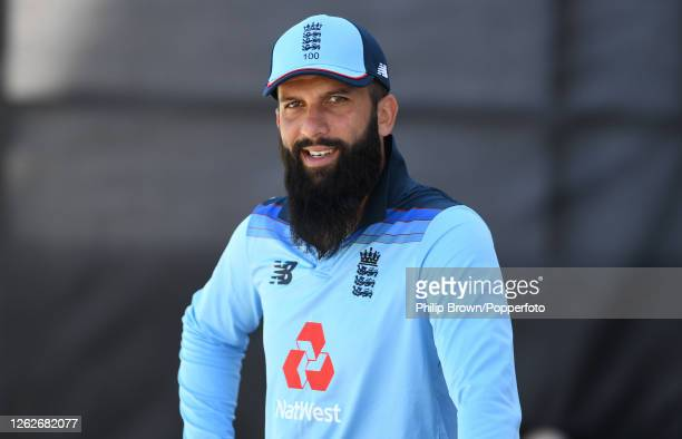Moeen Ali of England looks on before the first Royal London One Day International against Ireland at Ageas Bowl on July 30, 2020 in Southampton,...