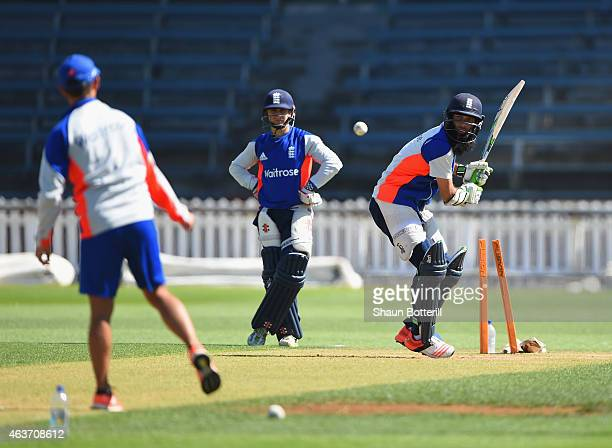 Moeen Ali of England plays a shot during an England nets session at Basin Reserve on February 18 2015 in Wellington New Zealand