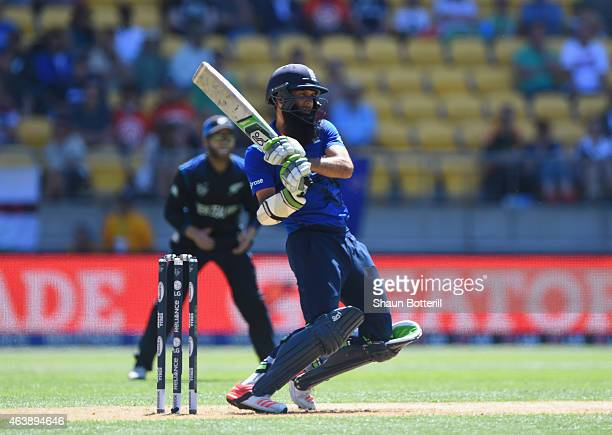 Moeen Ali of England plays a shot during the 2015 ICC Cricket World Cup match between England and New Zealand at Wellington Regional Stadium on...