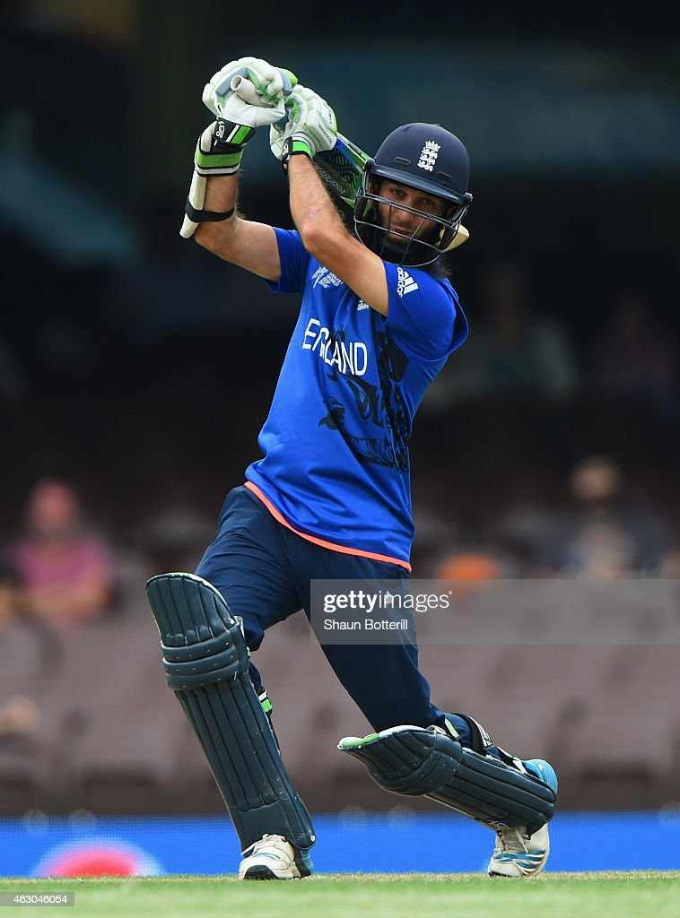 Moeen Ali of England plays a shot during the ICC Cricket World Cup warm up match between England and the West Indies at Sydney Cricket Ground on February 9, 2015 in Sydney, Australia.