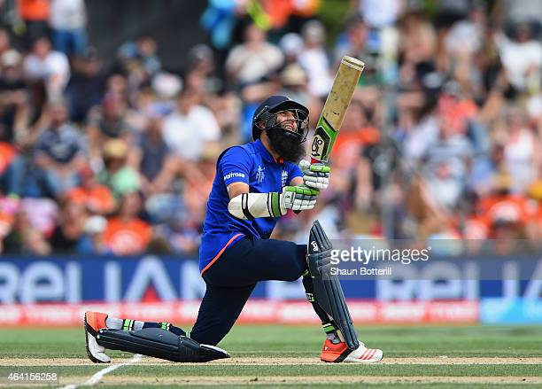 Moeen Ali of England plays a shot reach his century during the 2015 ICC Cricket World Cup match between England and Scotland at Hagley Oval on...