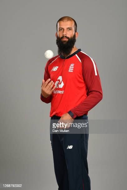 Moeen Ali of England poses during the England Squad Portrait Session at Emirates Old Trafford on August 26, 2020 in Manchester, England.