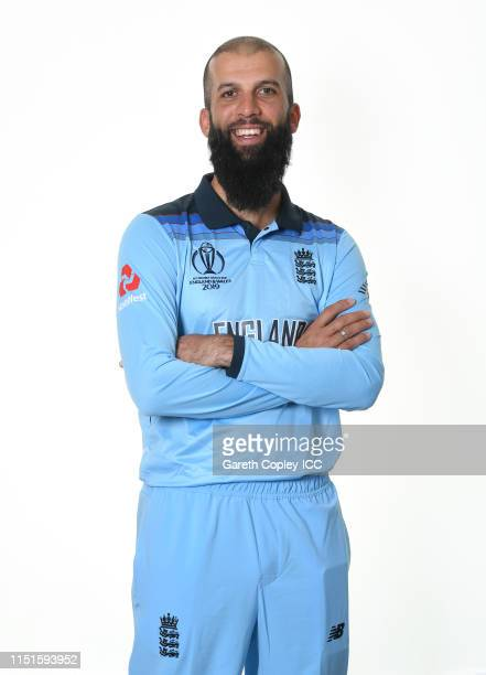 Moeen Ali of England poses for a portrait prior to the ICC Cricket World Cup 2019 at Ageas Bowl on May 24, 2019 in Southampton, England.