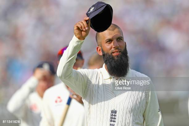 Moeen Ali of England raises his cap as he leaves the field after England win the1st Investec Test match between England and South Africa at Lord's...