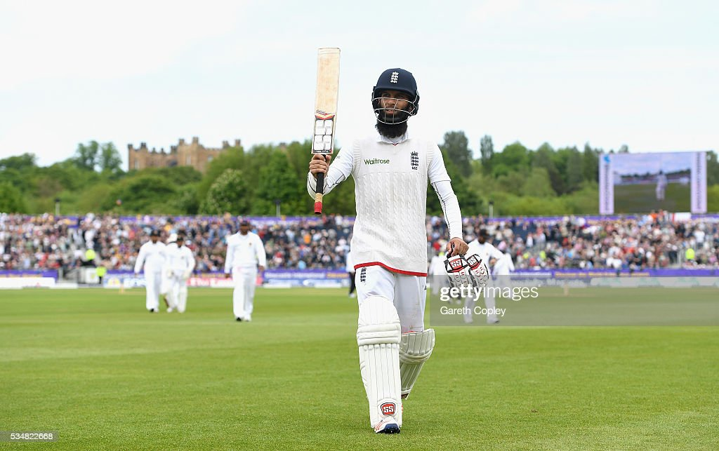 Moeen Ali of England salutes the crowd as he leaves the field 155 not out during day two of the 2nd Investec Test match between England and Sri Lanka at Emirates Durham ICG on May 28, 2016 in Chester-le-Street, United Kingdom.