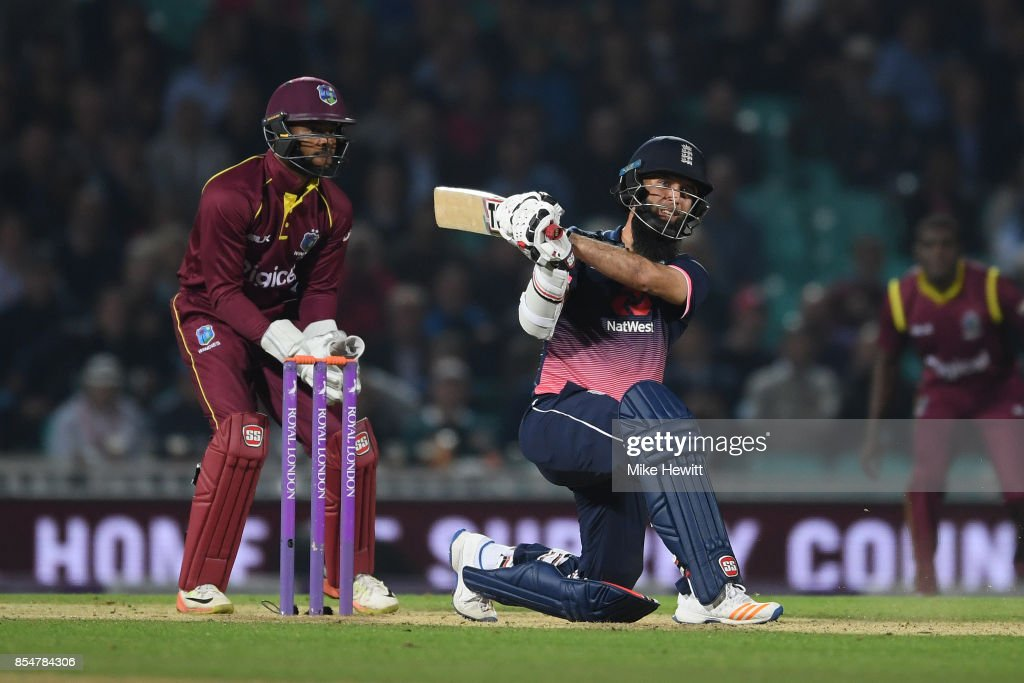 Moeen Ali of England smashesa six during the 4th Royal London One Day International between England and West Indies at The Kia Oval on September 27, 2017 in London, England.