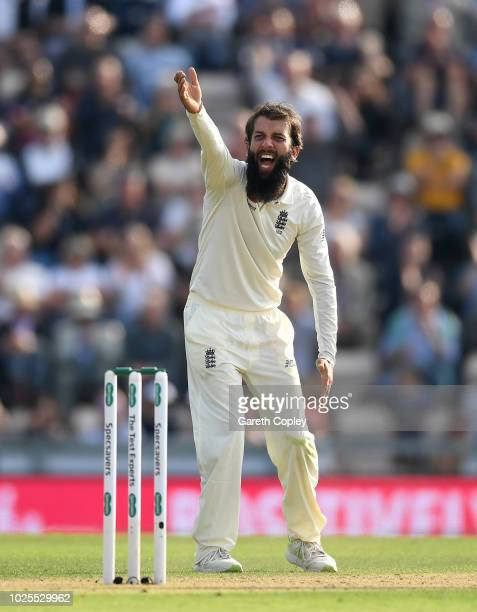 Moeen Ali of England successfully appeals for the wicket of Ishant Sharma of India during day two of the Specsavers 4th Test match between England...