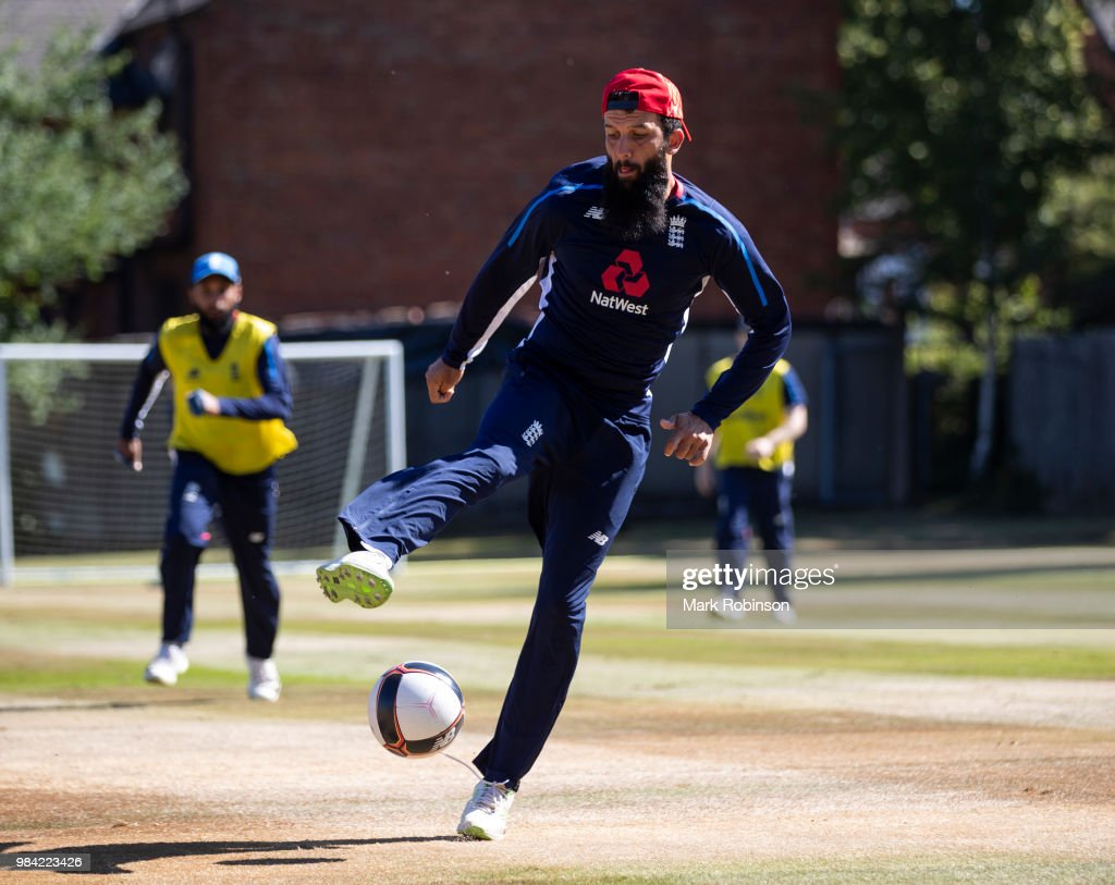 Moeen Ali of England takes part in a football match before a nets session at Edgbaston on June 26, 2018 in Birmingham, England.