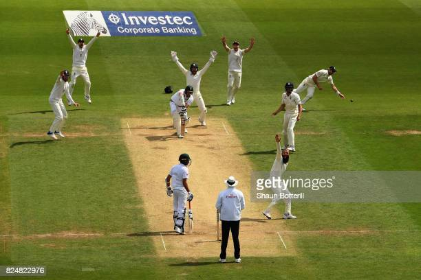 Moeen Ali of England takes the wicket of Morne Morkel of South Africa for his hattrick during day five of the 3rd Investec Test match between England...