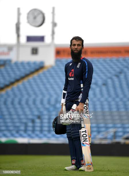 Moeen Ali of England waits to bat during a net session at Headingley on July 16 2018 in Leeds England