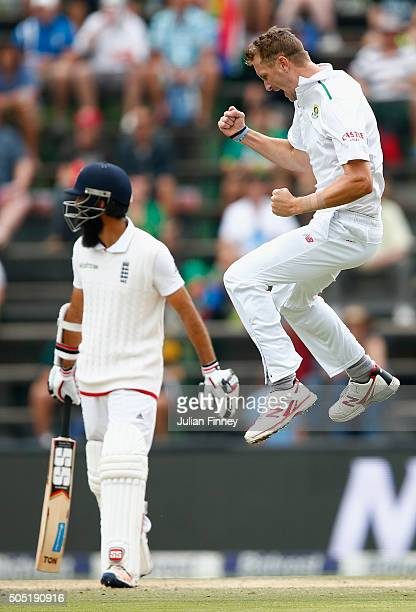 Moeen Ali of England walks off after Chris Morris of South Africa celebrates getting him out during day three of the 3rd Test at Wanderers Stadium on...