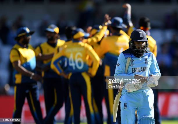 Moeen Ali of England walks off having been dismissed off the bowling of Isuru Udana of Sri Lanka during the Group Stage match of the ICC Cricket...