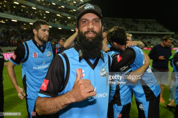 Moeen Ali of Worcestershire celebrates after his team won the Vitality T20 Blast Final between Sussex Sharks and Worcestershire Rapids at Edgbaston...