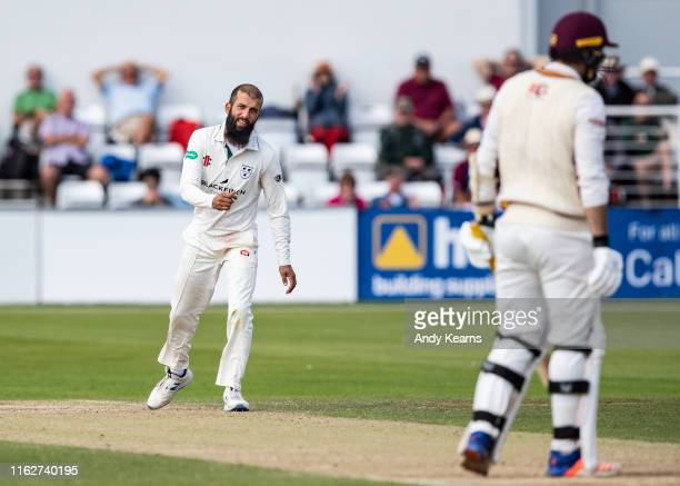 Moeen Ali of Worcestershire celebrates after taking the wicket of Brett Hutton of Northamptonshire during the Specsavers County Championship division...