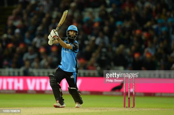 Moeen Ali of Worcestershire hits out during the Vitality T20 Blast Final between Sussex Sharks and Worcestershire Rapids at Edgbaston cricket ground...