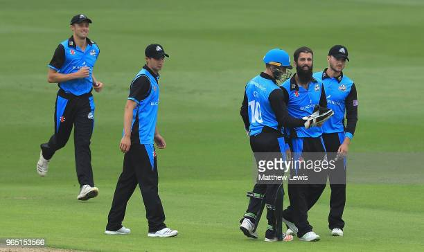 Moeen Ali of Worcestershire is congratulated by team mates after bowling Riki Wessels of Nottinghamshire during the Royal London OneDay Cup match...
