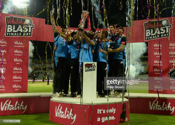 Moeen Ali of Worcestershire lifts the trophy after the Vitality T20 Blast Final between Sussex Sharks and Worcestershire Rapids at Edgbaston cricket...