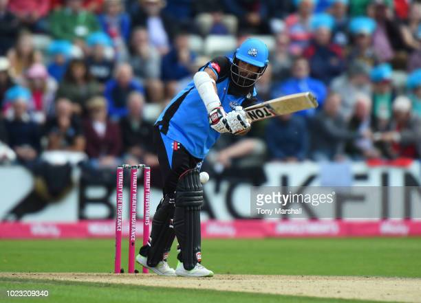 Moeen Ali of Worcestershire Rapids bats during the Vitality Blast QuarterFinal match between Worcestershire Rapids and Gloucestershire at New Road on...