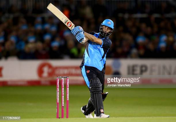 Moeen Ali of Worcestershire Rapids bats during the Vitality T20 Blast QuarterFinal match between Sussex Sharks and Worcestershire Rapids at The 1st...