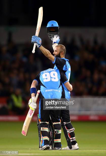 Moeen Ali of Worcestershire Rapids celebrates his century during the Vitality T20 Blast Quarter-Final match between Sussex Sharks and Worcestershire...