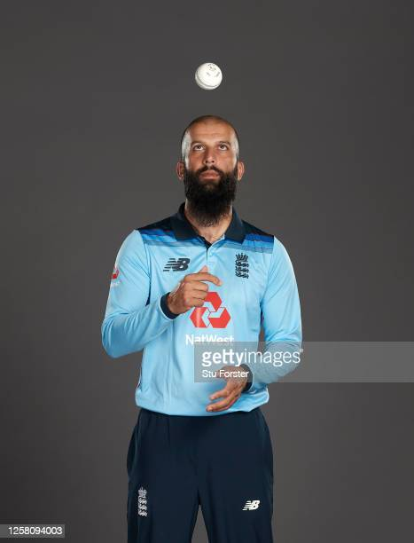 Moeen Ali poses for a portrait during the England One Day International Squad Photo call at Ageas Bowl on July 24, 2020 in Southampton, England.