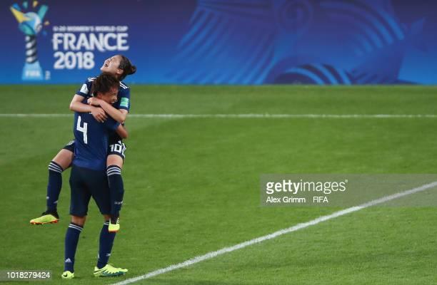 Moeka Minami and Fuka Nagano of Japan celebrate after the FIFA U20 Women's World Cup France 2018 Quarter Final quarter final match between Germany...
