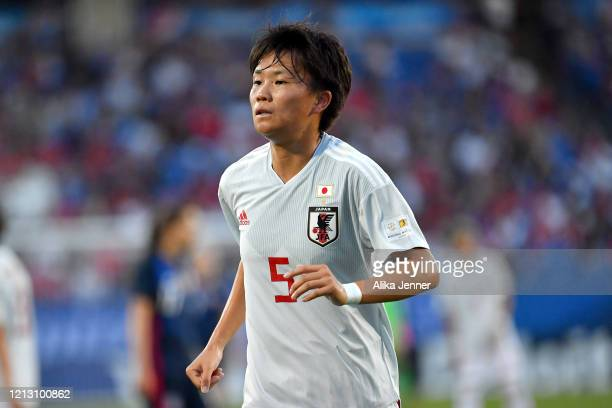 Moeka Minami of Japan looks on during the first half of the SheBelieves Cup match against the United States at Toyota Stadium on March 11 2020 in...