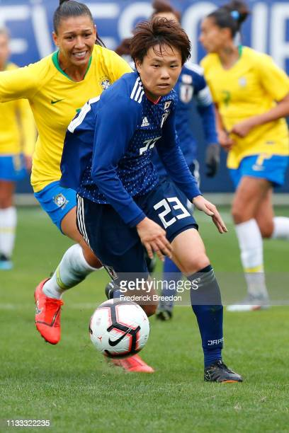 Moeka Minami of Japan plays during the 2019 SheBelieves Cup match between Brazil and Japan at Nissan Stadium on March 2 2019 in Nashville Tennessee
