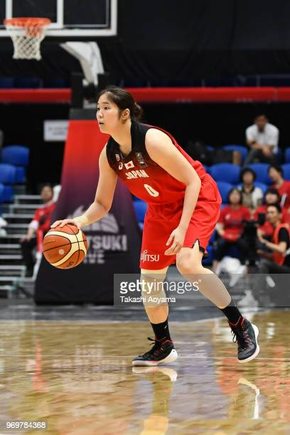 Moeko Nagaoka of Japan dribbles the ball during the Women's Basketball international between Japan and Chinese Taipei at Tachikawa Tachihi Arena on...
