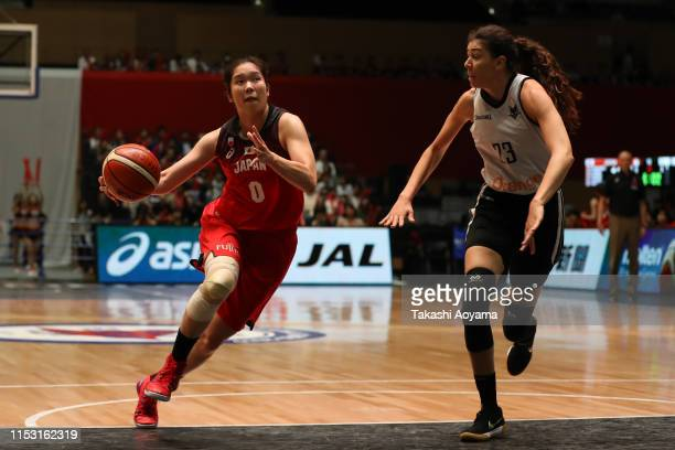 Moeko Nagaoka of Japan drives to the basket during Game Two of Mitsui Fudosan Cup match between Japan and Belgium at Adastria Mito Arena on June 02,...