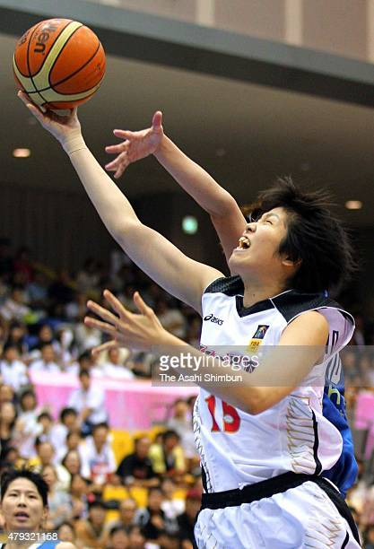 Moeko Nagaoka of Japan in action during the FIBA Aisa Championship for Women Level I match between Japan and Chinese Taipei at Seahat Omura on August...