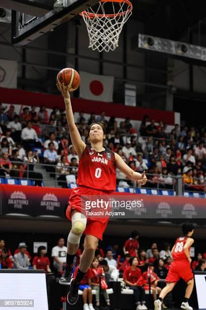 Moeko Nagaoka of Japan warms up prior to the Women's Basketball international between Japan and Chinese Taipei at Tachikawa Tachihi Arena on June 8,...