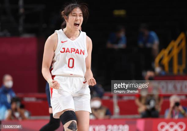 Moeko Nagaoka of Team Japan celebrates against France during a Women's Preliminary Round Group B game on day four of the Tokyo 2020 Olympic Games at...