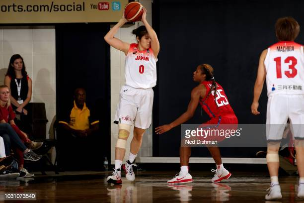 Moeko Nagaoka of the Japan National Team handles the ball against the USA National Team on September 10, 2018 at the Charles E Smith Center at George...