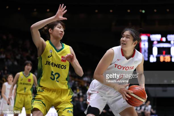 Moeko Nagaoka of Toyota Antelopes handles the ball during the Basketball 85th Empress's Cup Final between Toyota Antelopes and JX-Eneos Sunflowers at...