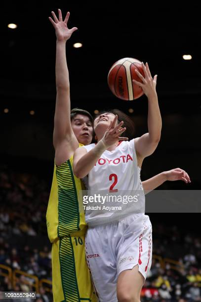 Moeko Nagaoka of Toyota Antelopes lays the ball up during the Basketball 85th Empress's Cup Final between Toyota Antelopes and JX-Eneos Sunflowers at...